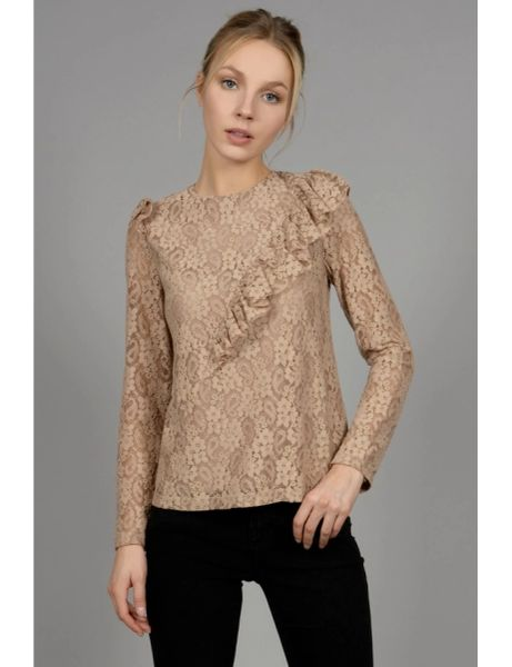 MB Taupe Lace Blouse with Flying Ruffle Detail