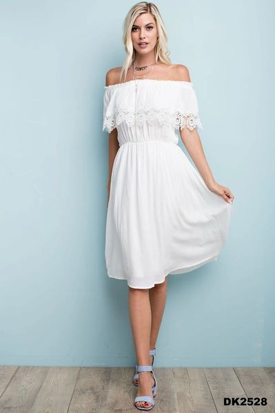 Luncheon on the Hill off the Shoulders White Midi Length Dress