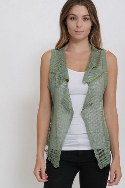 Crochet Vest With Zipper Detail