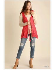 Summer Coral V Neck Crochet Vest with Waist Tie Detail