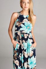Maui Dreams Navy Floral Racer Back Maxi