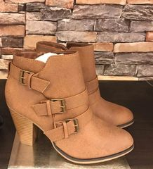 Camila Taupe Side Buckle Ankle Bootie