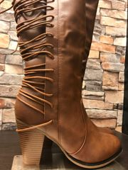Bess Calf Lace Up Back Detail Chunk Heel Boot