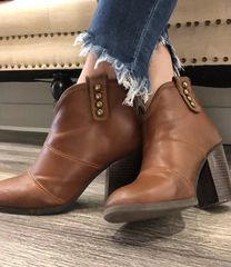 Carly Cognac Mid Ankle Bootie with Button Detail
