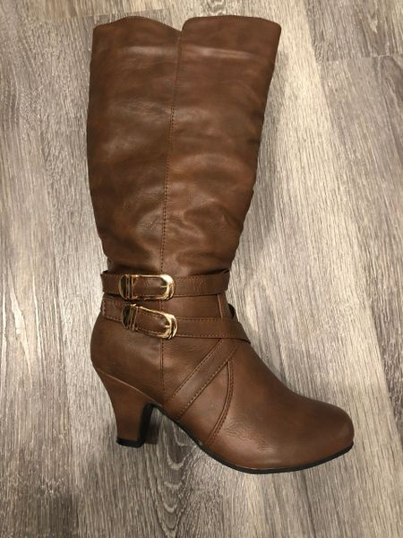 Dana Cognac Calf Height Heeled Boot with Buckle Accents