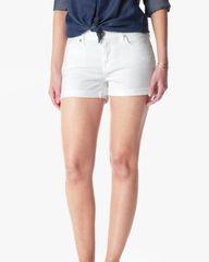 7 FAMK Distressed Cuffed White Denim Shorts