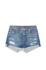 7 Famk Distressed Cuffed Denim Shorts