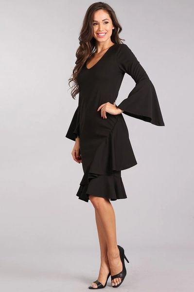 Little Black Ruffle Midi Dress