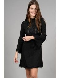MB Black Mock Neck Dress With Embroidered Bib And Laser Cut Details