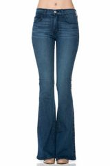 Mid Wash Simple Hem Flare Jeans