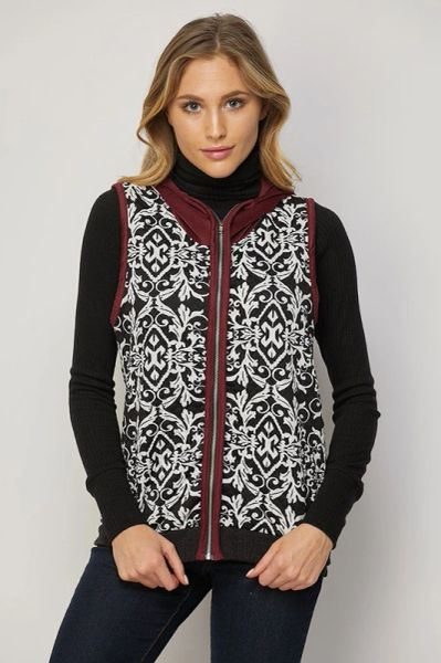 B&W Scroll print vest with Wine Faux Suede hood