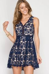 Navy Crochet Lace Pattern Fit & Flare With Nude Underlay