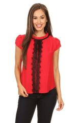 Red Blouse With Black Lace Detail