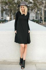 Black Layering L/S Dress with Pockets