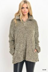 Over Sized Quarter Zip Mock Neck Faux Sherpa Pull Over