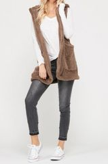 Faux Sherpa Hooded Vest with Pockets