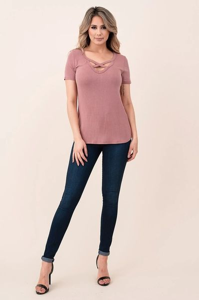 Mauve X Front Fitted VNeck Tee