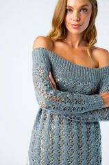 Open Knit Slouchy / Off The Shoulders Sweater