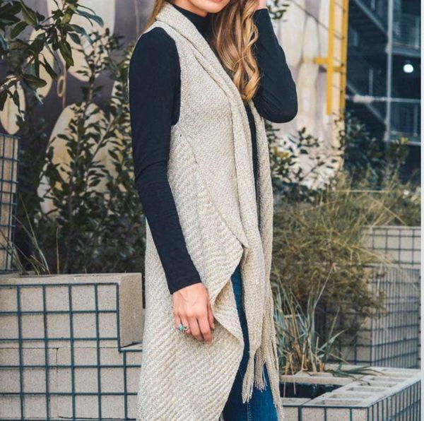 Long Line Crochet Knit Vest with Tassel Hemline Details