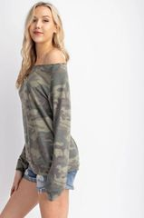 Slouchy Wide Neck Faded Camo Print Sweaters