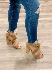 Rachel Rope Tie Chunk Heel Open Sandal