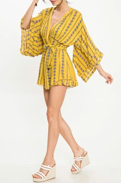 Tribal Printed Mustard Romper with Fly Away Kimono Sleeve