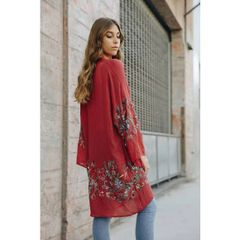 Catalina Rust Embroidered Kimono Cardigan