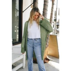 Moss Green Open Knit Cardigan
