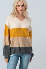 Krista Color Block Textured Sweater with Bishop Style Sleeve