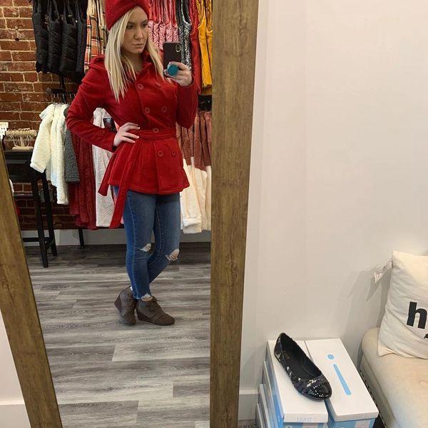 Red Fleece Lined Peacoat -No Hood.
