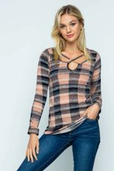 Blushing Plaid Light Weight Knit Sweater