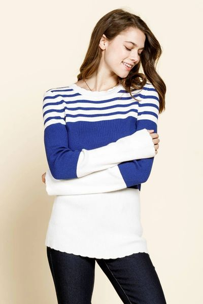 Color Blocked Royal and White Stripe Ribbed Light Weight Sweater Top