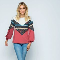 Contrasted Color/Pattern Block Light Knit Top with Bishop Sleeves