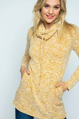 Knit Heathered Cowl Neck Tunic Top with Pockets