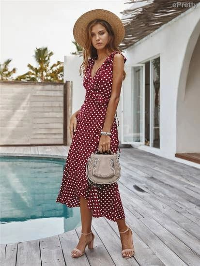 Wine Wrap Dress with Ivory Polk A Dots