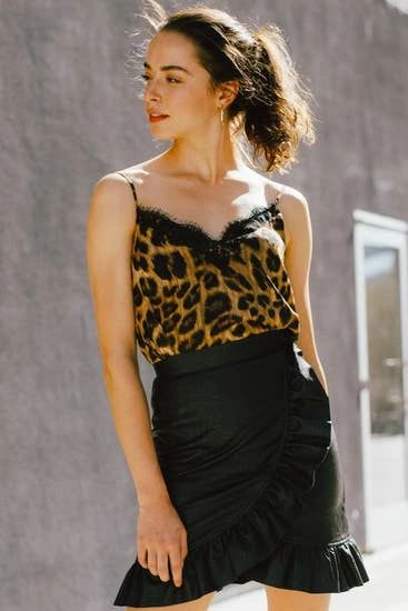 Leopard Print Slinky Layering Camisole Top with Lace Detail