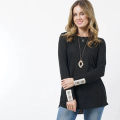 Black Light Weight Knit Tunic with Button Crochet Details