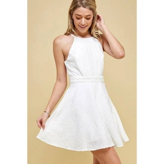 Highneck Ivory Jacquard Dress