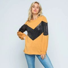 Sequin Black and Mustard Chevron Color Block Knit Top with Bishop Sleeve