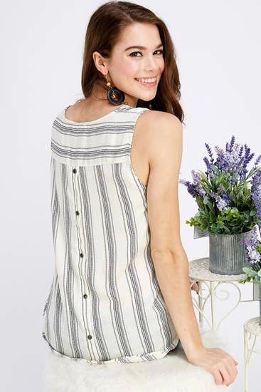 Sleeveless Blouse with Button Down Detail on Back