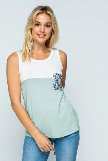 Sleeveless Color Block Top with Snake Print Detail Pocket