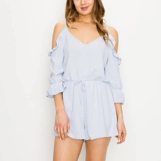 Pastel Ruffled 3/4 sleeve cold shoulder romper.