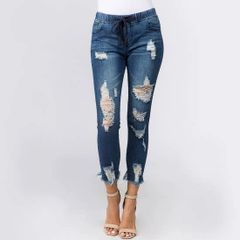 Dual Distressed Denim Jogger