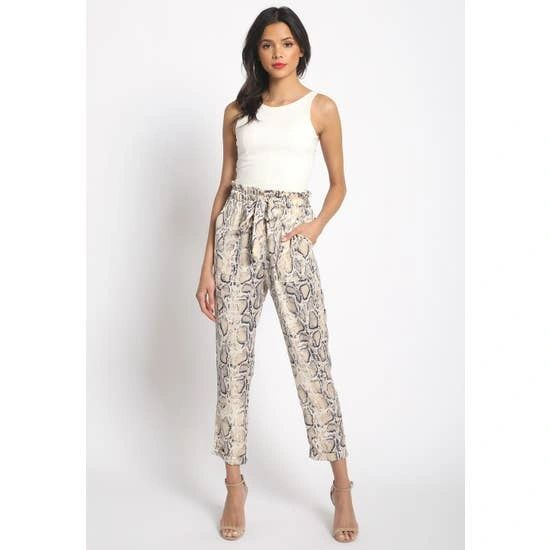 Snake Printed Satin Like Paper Bag Tie Pants