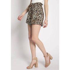Leopard Printed High Waist Paper Bag Tie Shorts