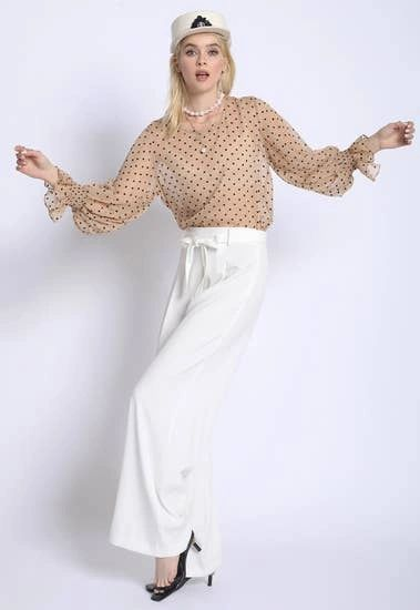 White Paper Bag High Waist Self Tie Pleated Wide Leg Slacks