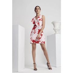 Calibre Floral Printed Ruffle Front Detail Dress
