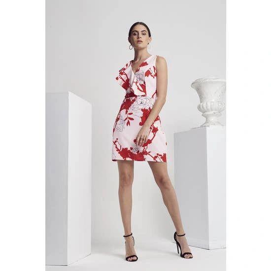 Calibre Floral Printed Ruffle Front Detail Dress