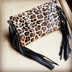Leopard Print Genuine Leather Hair on Hide Clutch Bag with Fringe