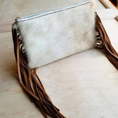 Neutral Colors Hair on Hide Genuine Leather Clutch Bag